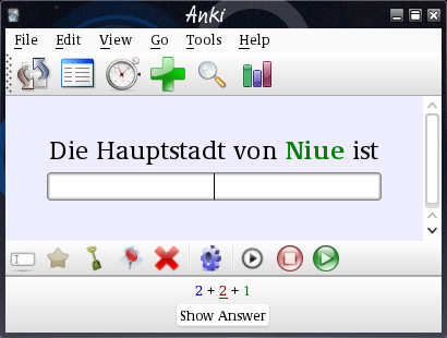 Anki 2 review window with two icon bars. The review area reads Die Hauptstadt von Niue ist