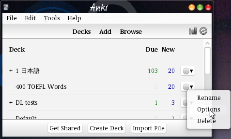 Setting the language in the deck options – Ospalh's Anki2 addons