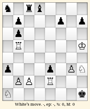 "Chess board with the chess problem ""excelsior"". See text for precise position."