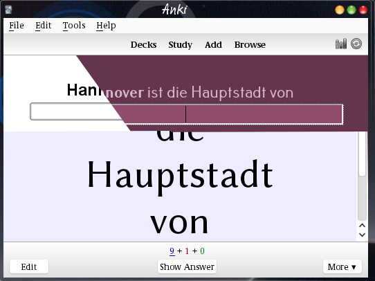 An Anki review window, split and showing different fonts and color schemes in different parts.